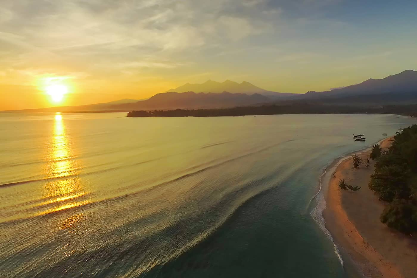 aerial sunrise villa photo Lombok