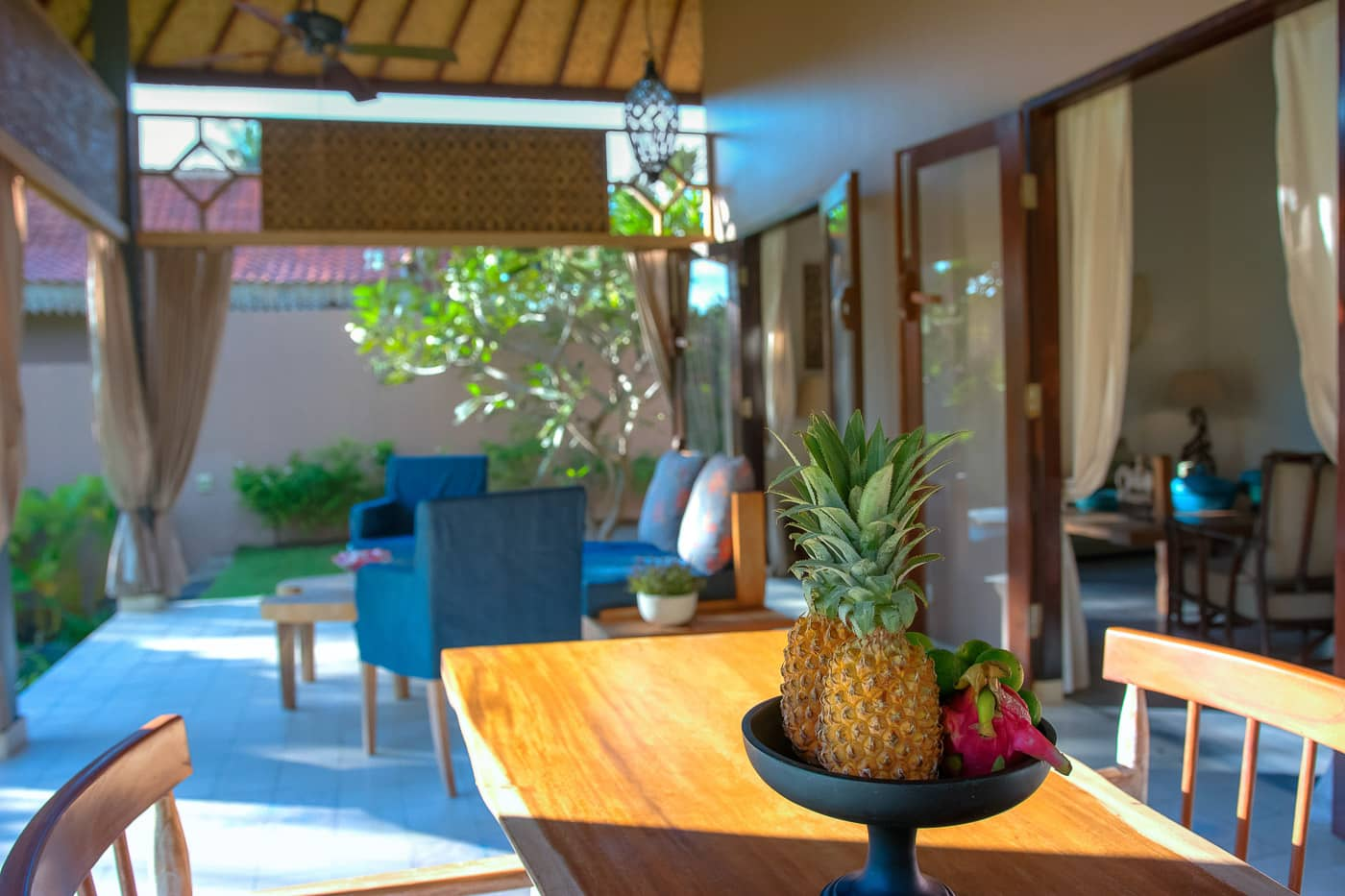 patio dining area of The Beach Villa Lombok